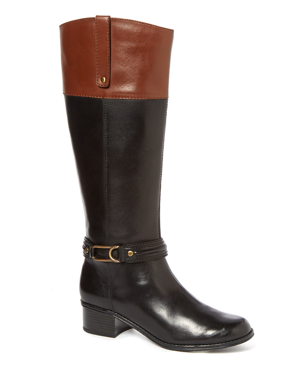 bandolino black cognac coloradee wide calf leather boot