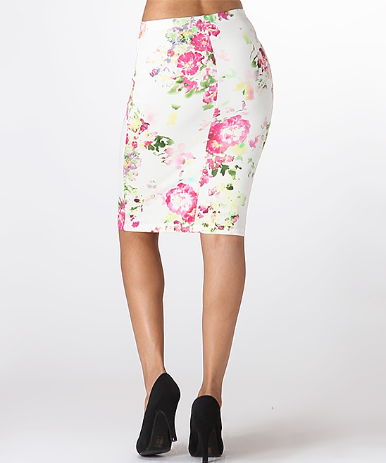 lara fashion white floral pencil skirt zulily