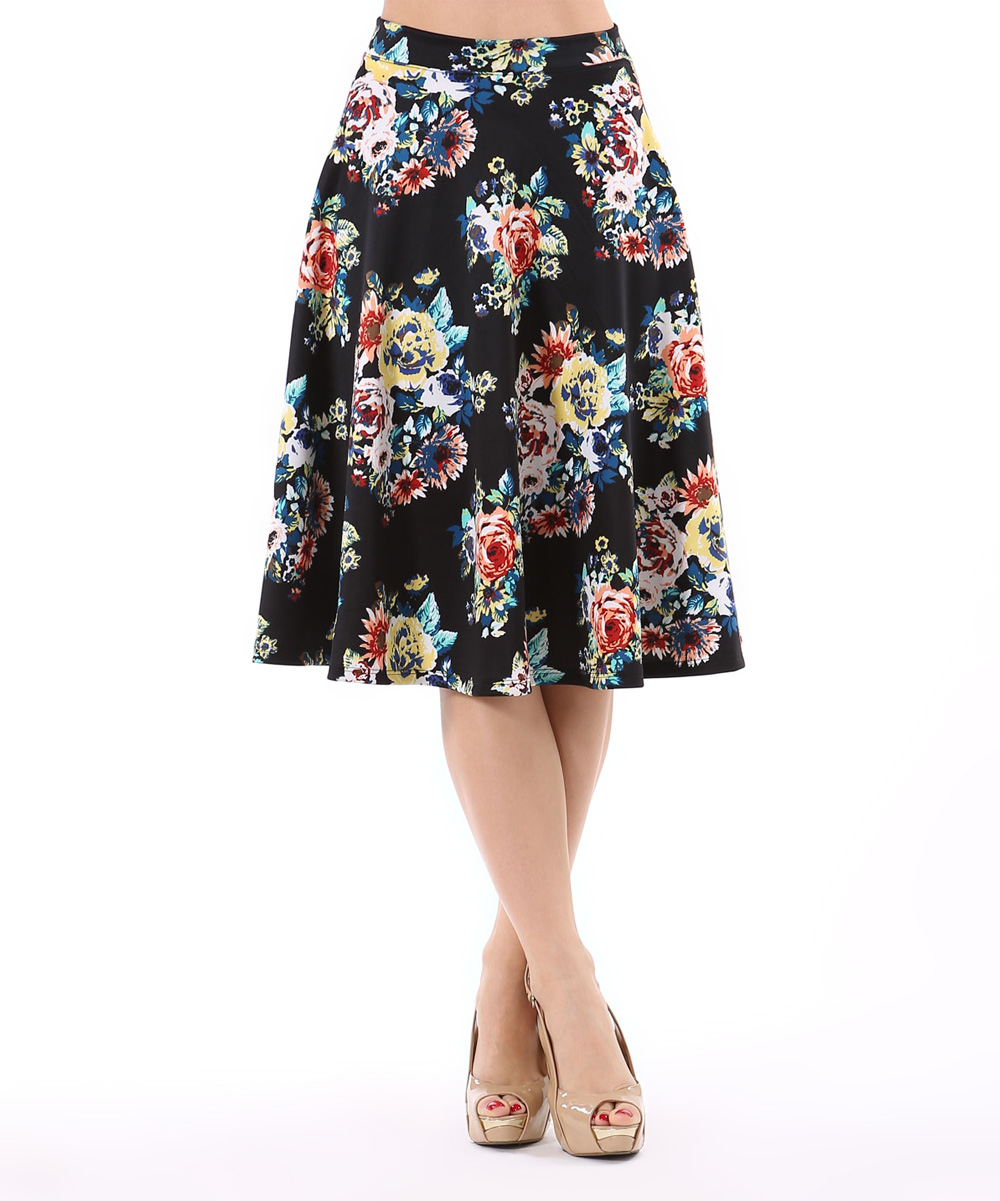 lara fashion black blue floral a line skirt zulily