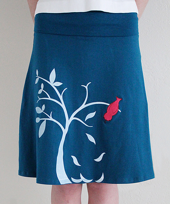 zoes lollipop teal blue tree a line skirt plus zulily