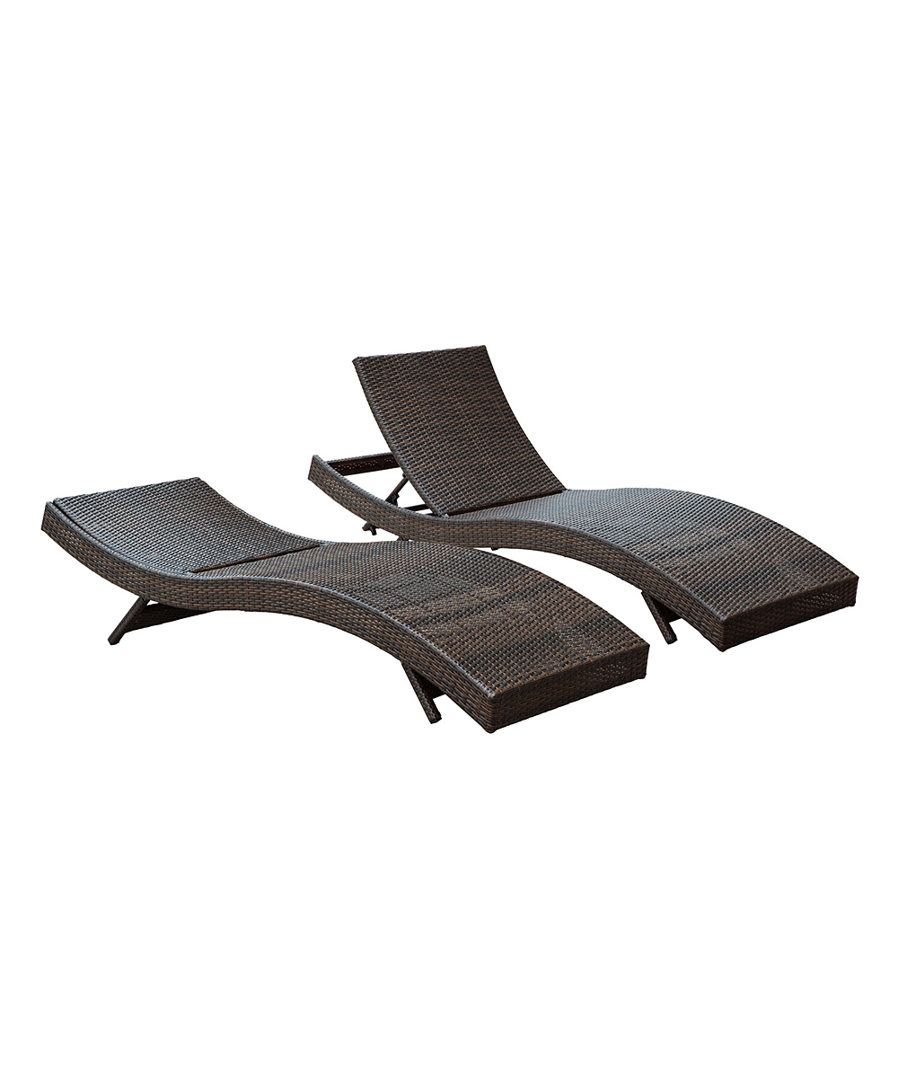 Modway brown orange peer outdoor chaise set of two for Chaise orange