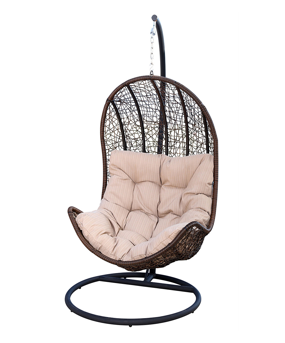 Tan Wicker Outdoor Swing Chair