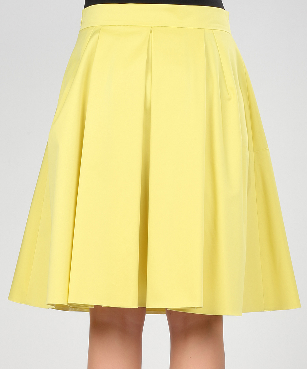 poesse yellow pleated skirt zulily