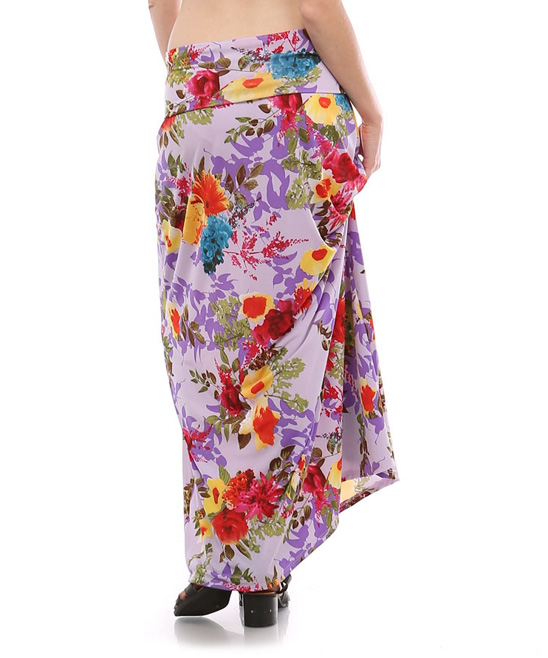 bold beautiful lavender floral maxi skirt zulily