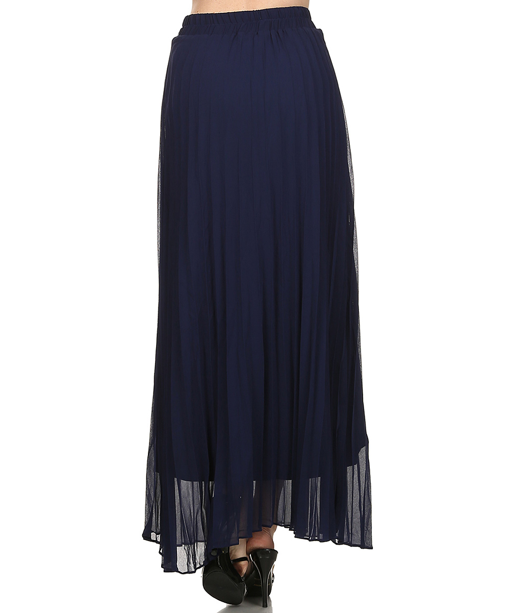 t design navy pleated maxi skirt zulily