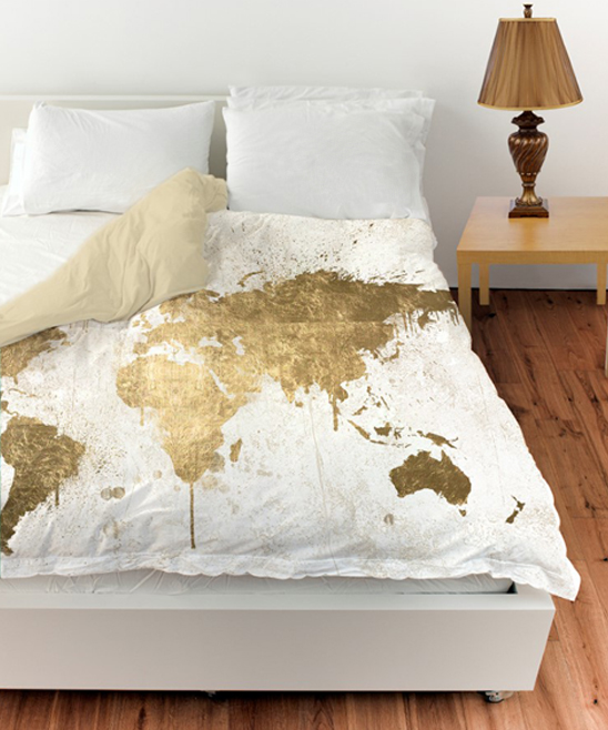 Oliver Gal White Gold Mapamundi Duvet Cover Zulily
