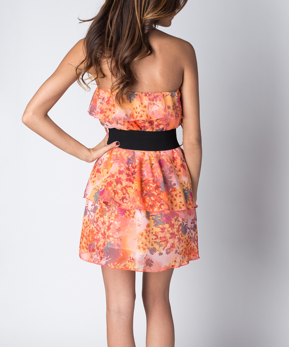 paradise usa fashion coral floral tier strapless dress