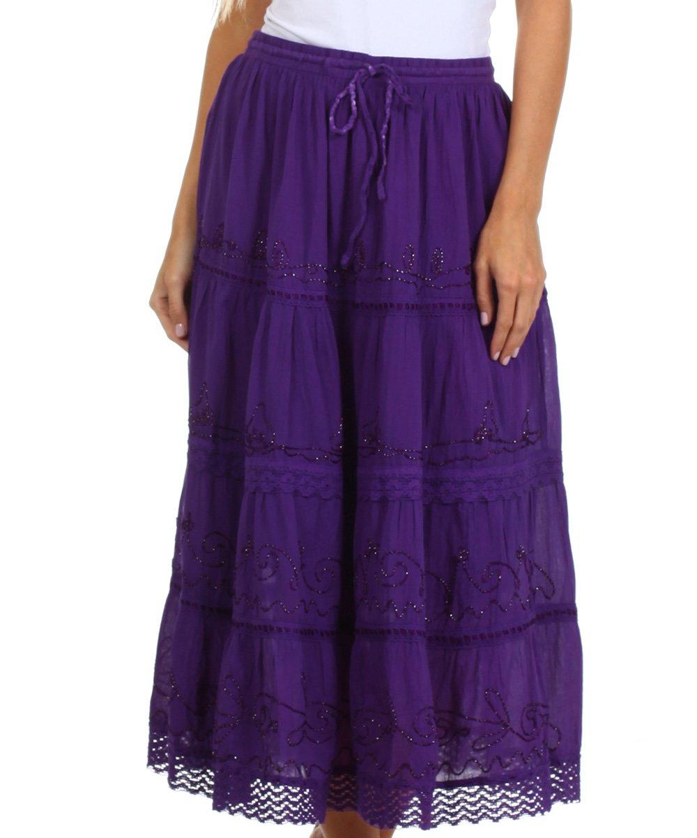purple embroidered midi skirt zulily