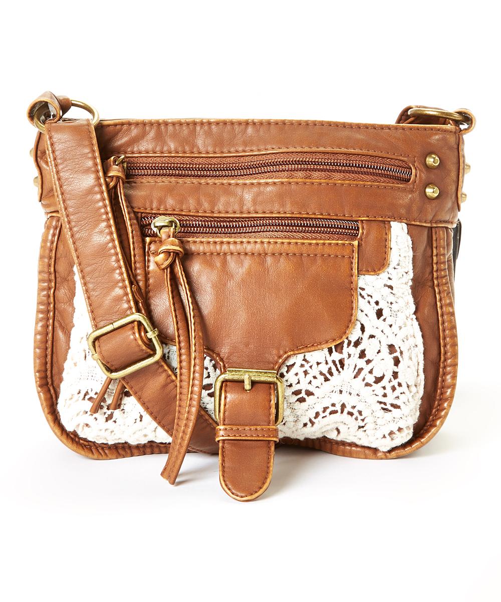 Crochet Crossbody Bag : Cognac & White Crochet-Pocket Crossbody Bag