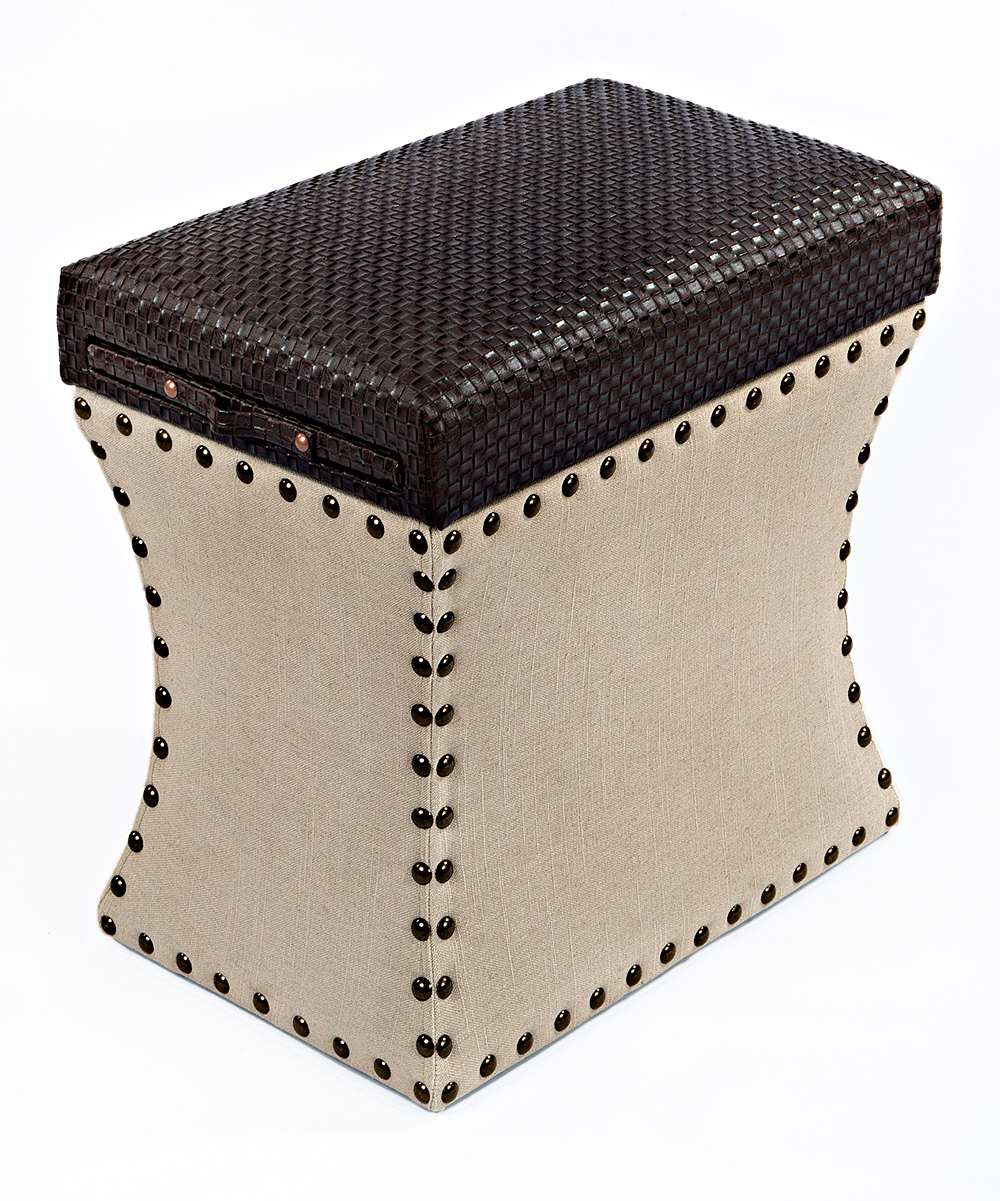 couef chocolate brown taupe storage ottoman zulily