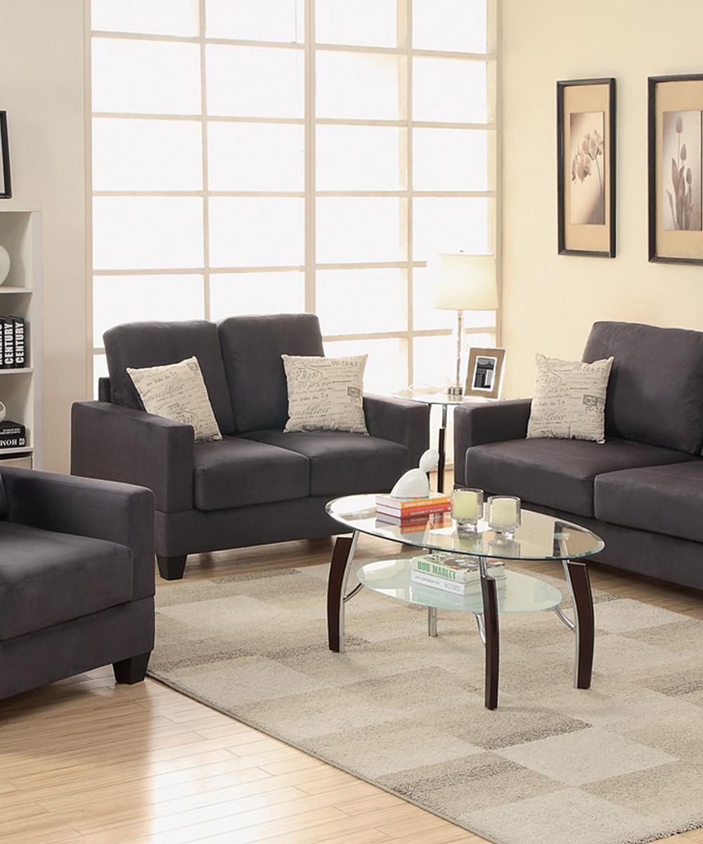 Hollywood D Cor Three Piece Ebony Living Room Set Zulily