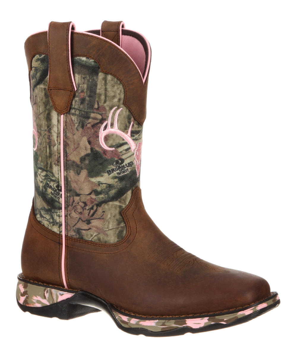 durango brown pink elk embroidered leather cowboy boot