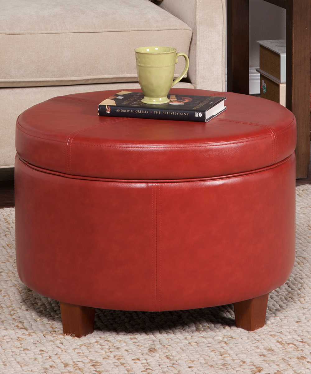 Large Round Ottoman : HomePop Large Round Cinnamon Faux Leather Storage Ottoman  zulily