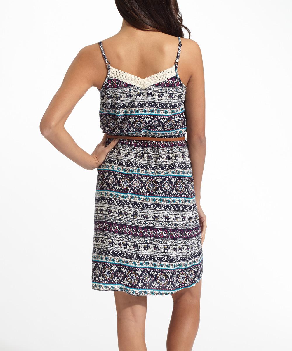 pinkblush navy blue elephant crochet belted dress zulily