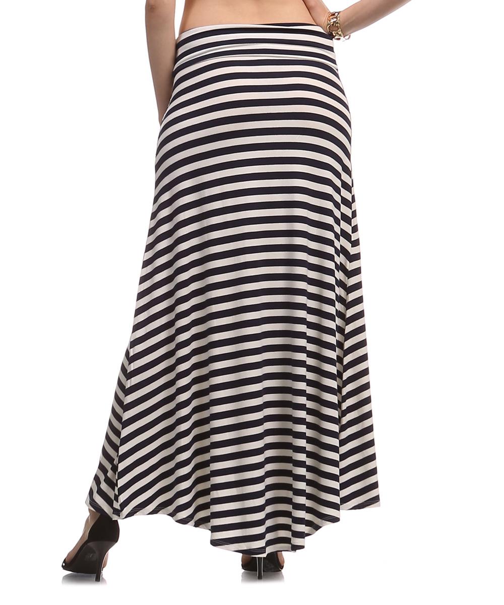 a la tzarina navy white stripe maxi skirt zulily