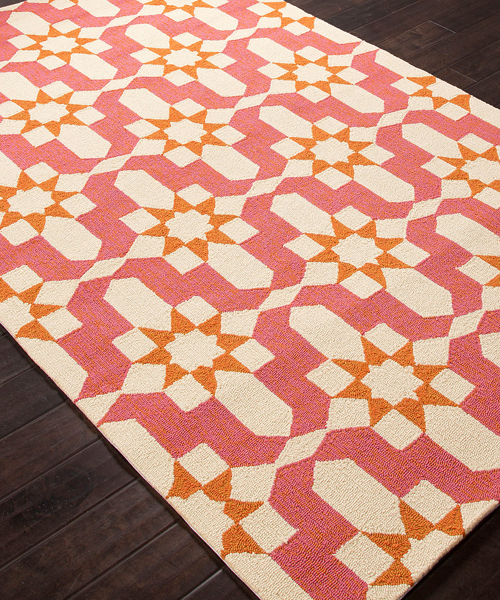 Pink & Ivory Moroccan Indoor Outdoor Rug