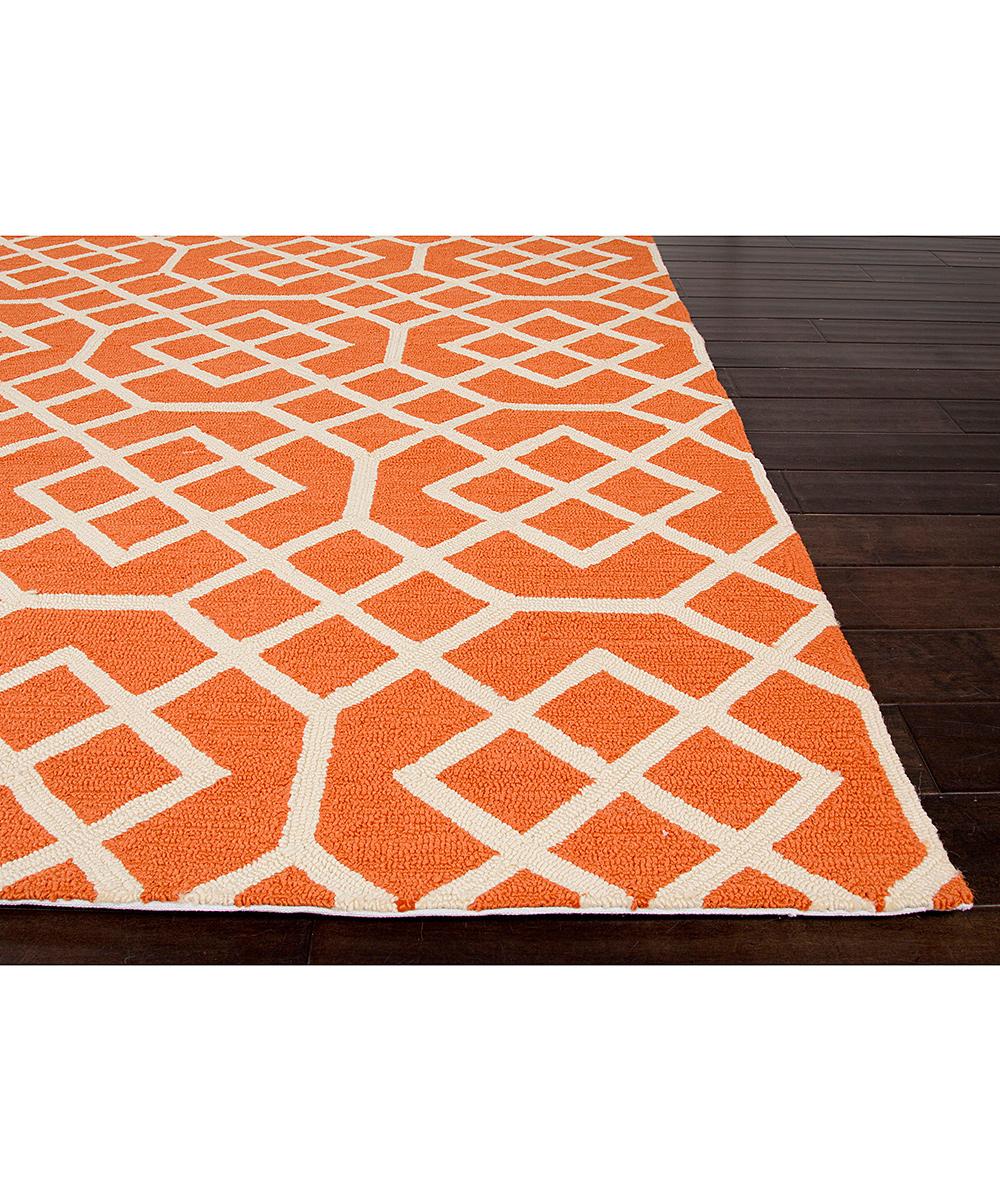 Orange & Ivory Tile Geometric Indoor Outdoor Rug