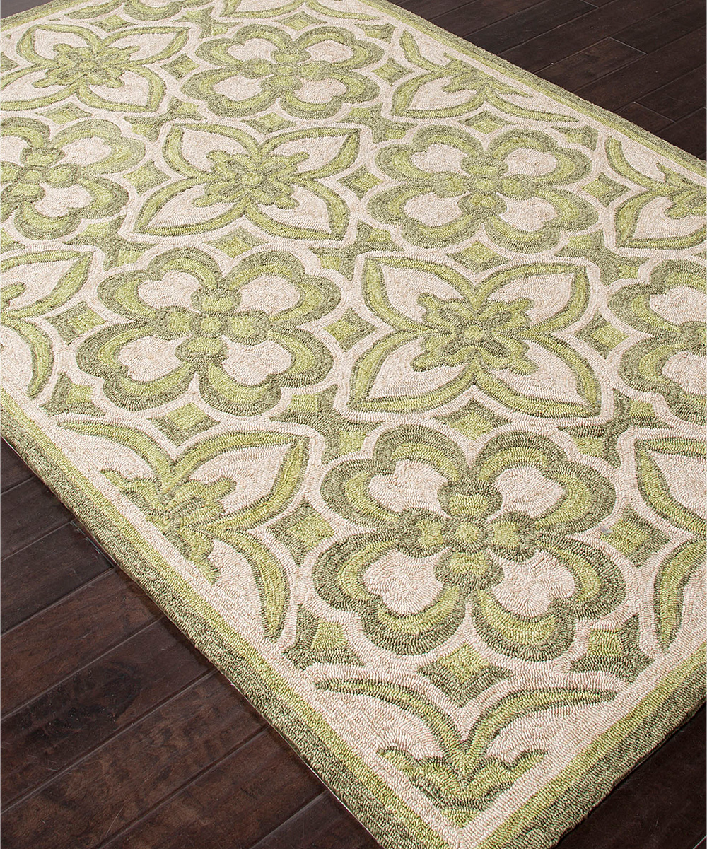 Green & Ivory Floral Moroccan Indoor Outdoor Rug