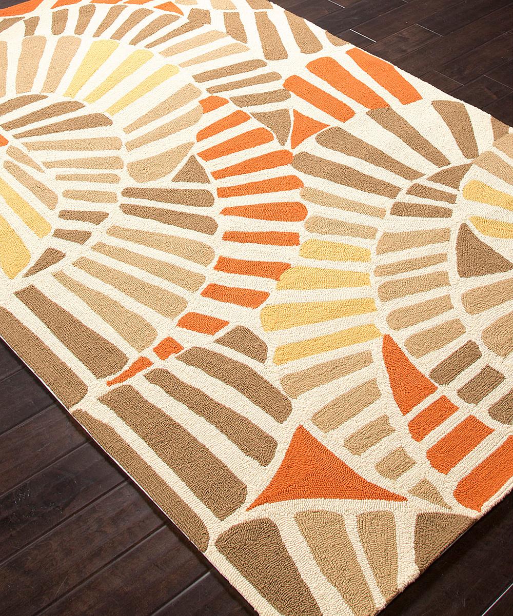 Jaipur Rugs Orange & Taupe Swirling Tile Indoor Outdoor