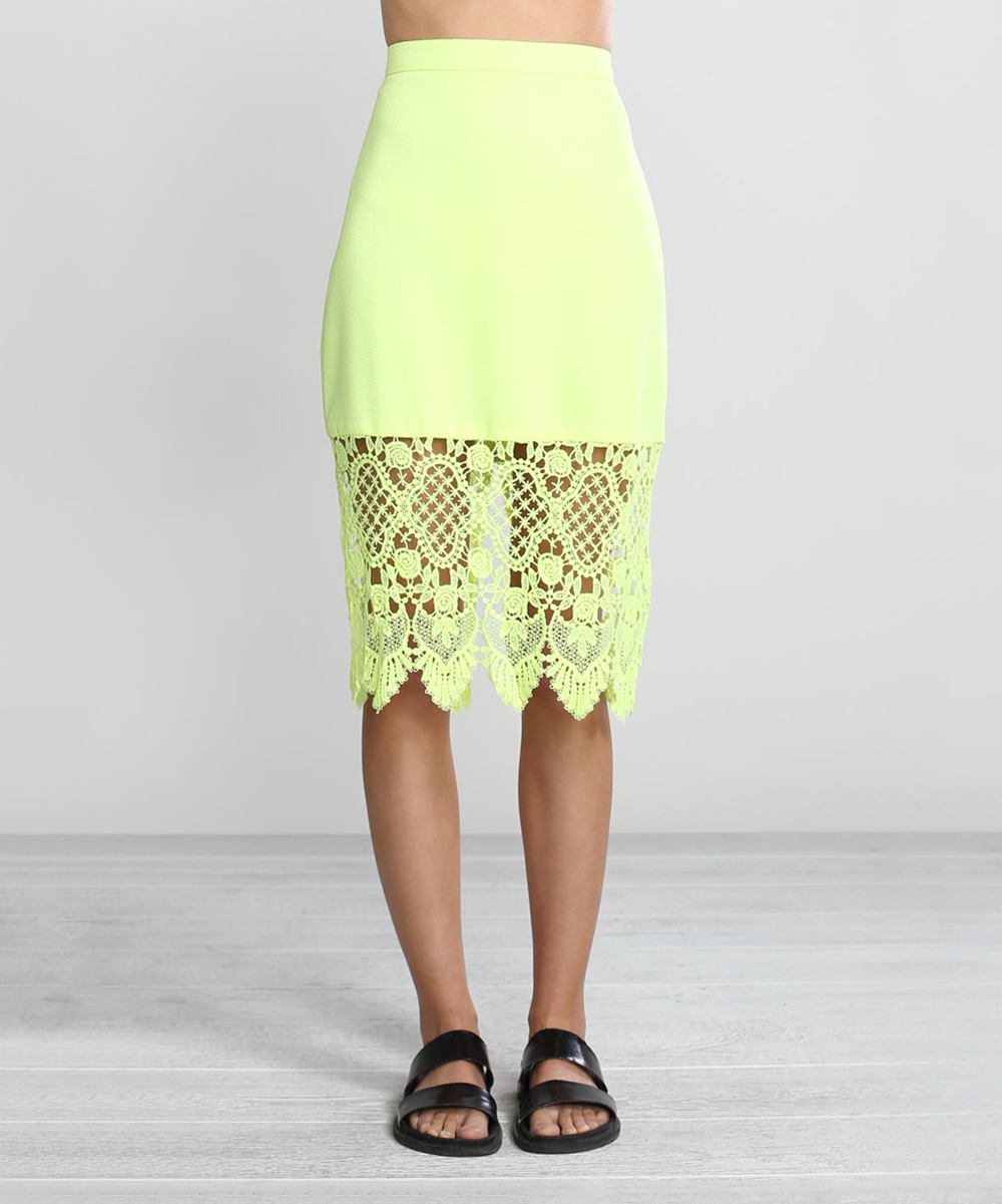 flying tomato lime green sheer lace pencil skirt zulily