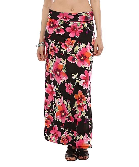 bold beautiful pink black floral maxi skirt zulily