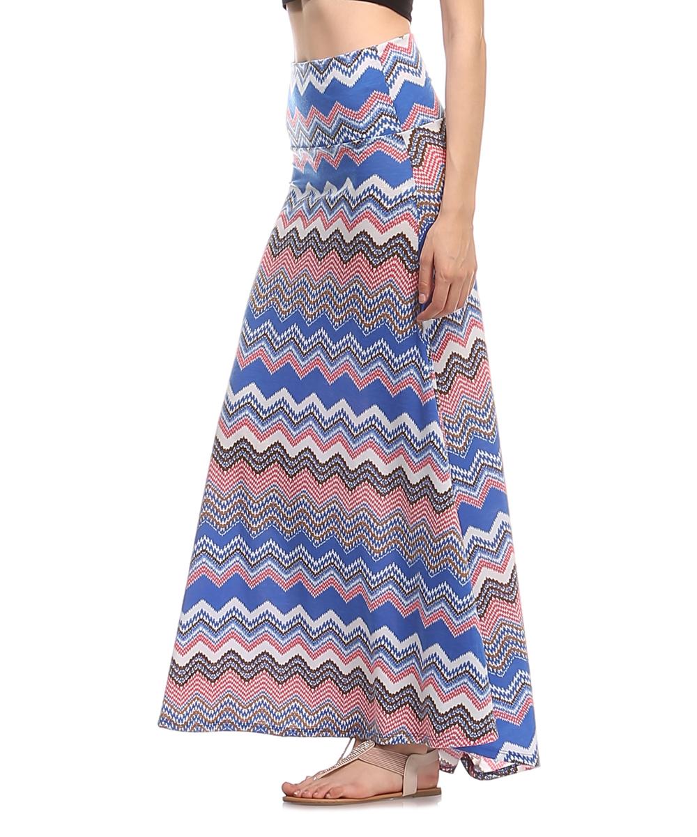 a la tzarina royal blue orange chevron maxi skirt zulily