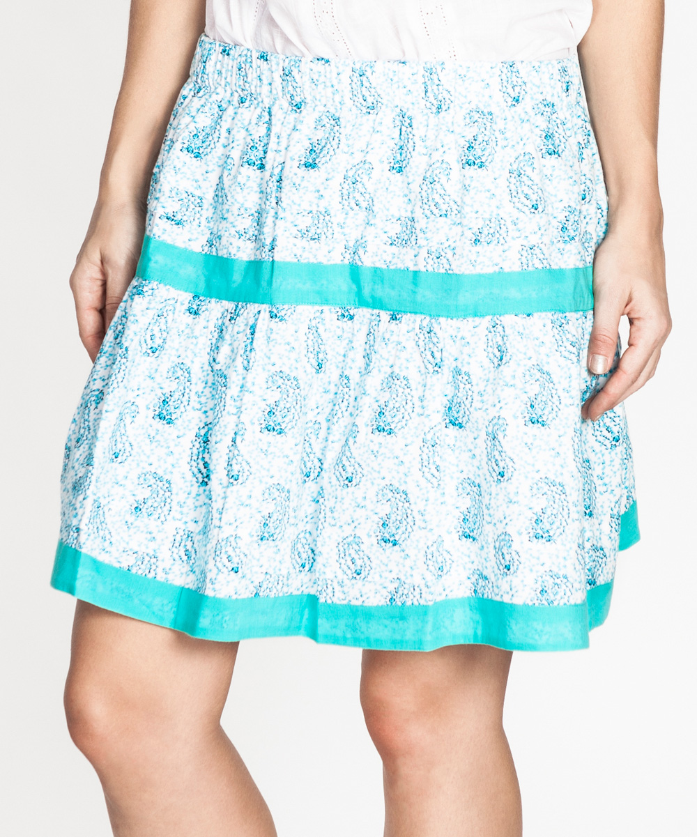 tantra blue white paisley a line skirt zulily