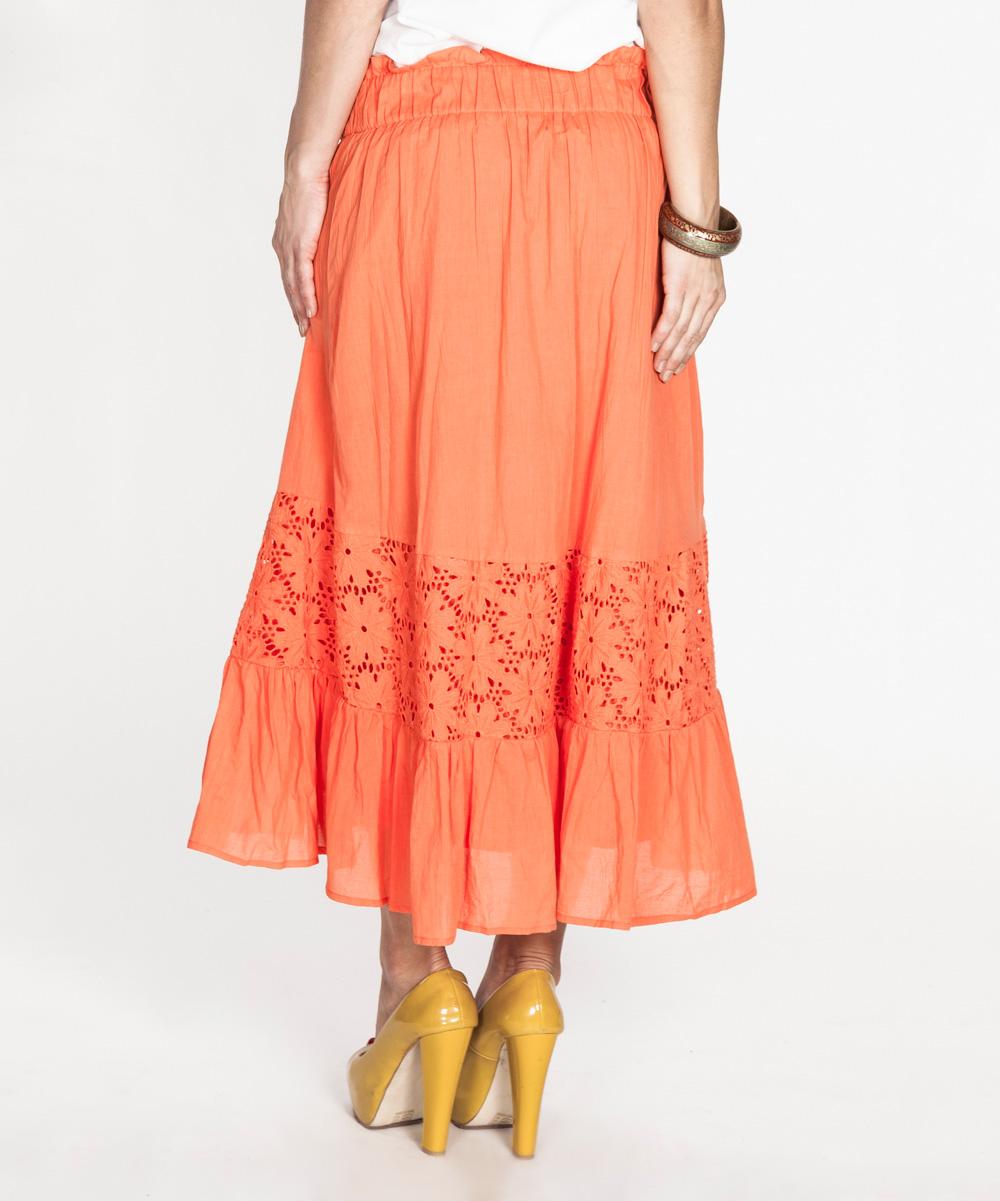 tantra orange crochet a line skirt zulily
