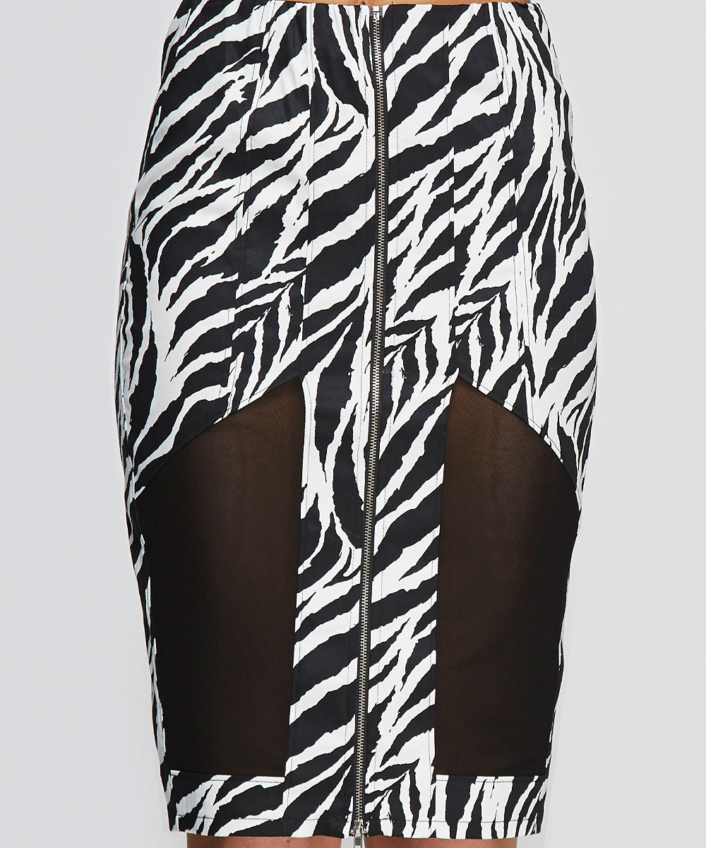 marvel black white zebra zip up pencil skirt