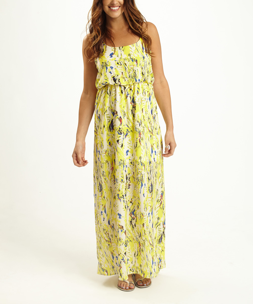 maternity pinkblush yellow abstract maternity maxi dress zulily