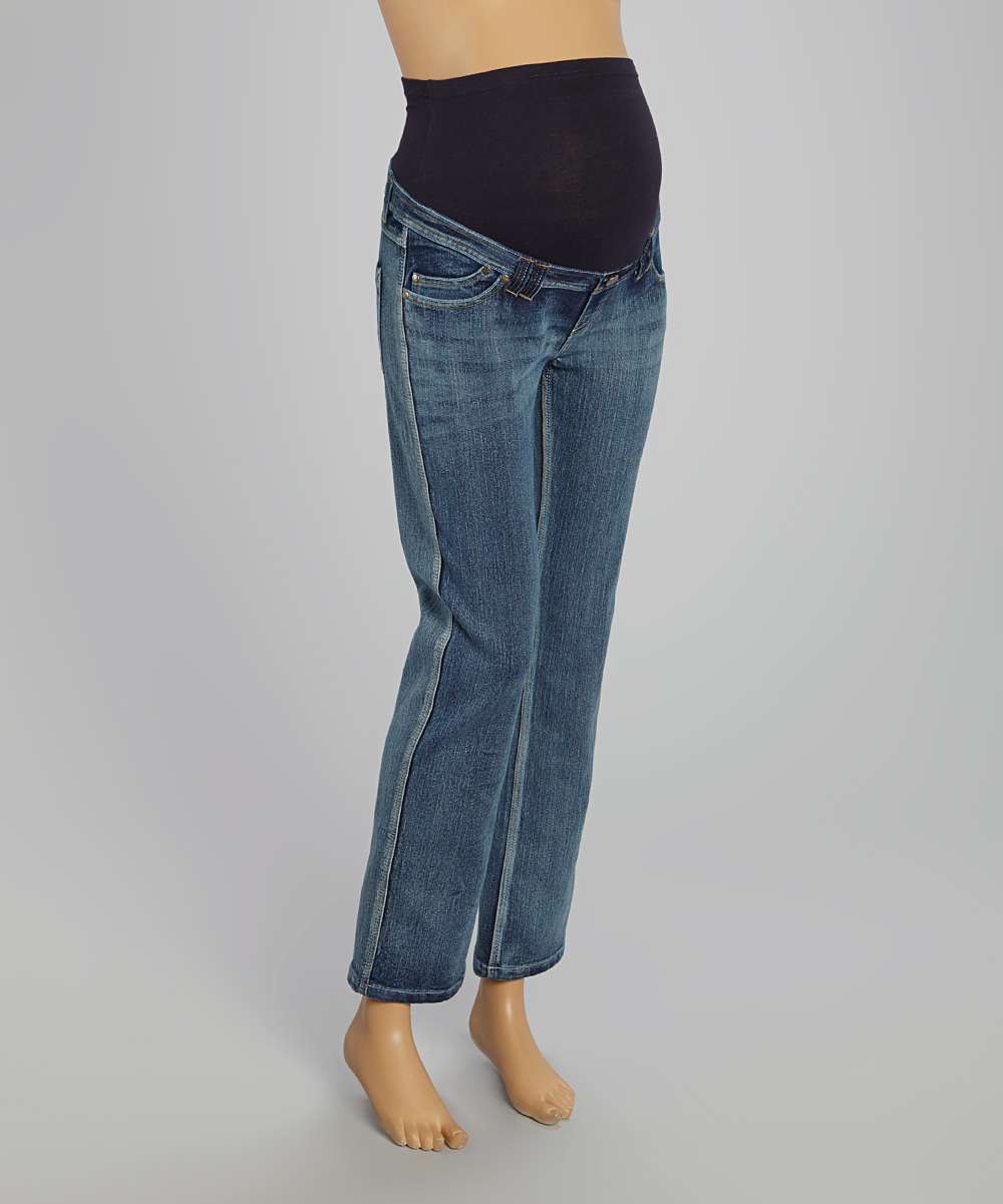 oh mamma light wash over belly maternity bootcut jeans. Black Bedroom Furniture Sets. Home Design Ideas