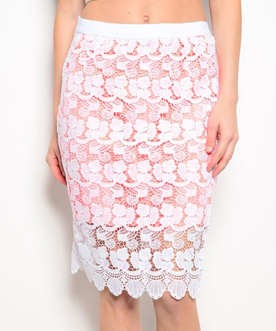 shop the trends orange lace embroidered pencil skirt zulily
