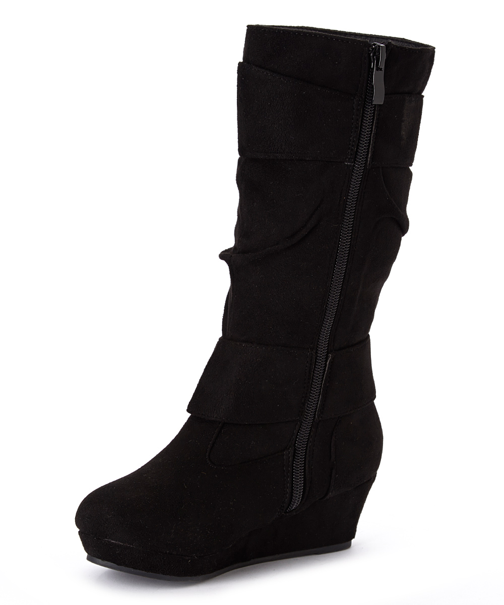 qq black snowball slouch wedge boot zulily