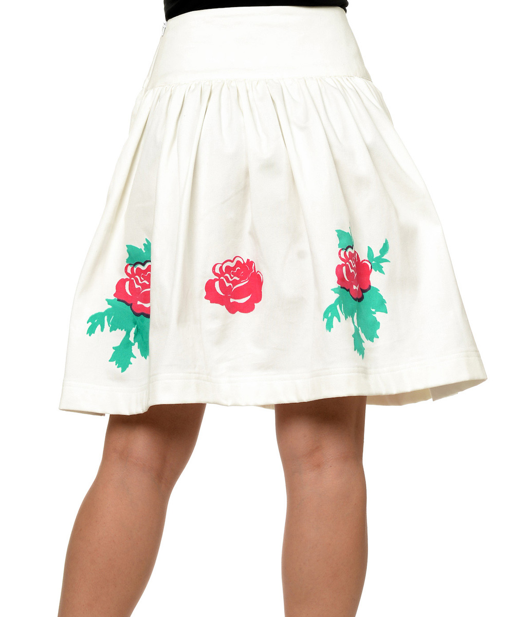 white floral a line skirt