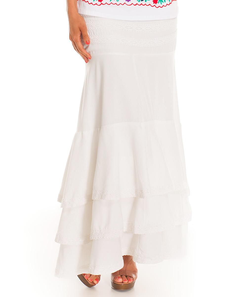 almatrichi white ruffle maxi skirt zulily