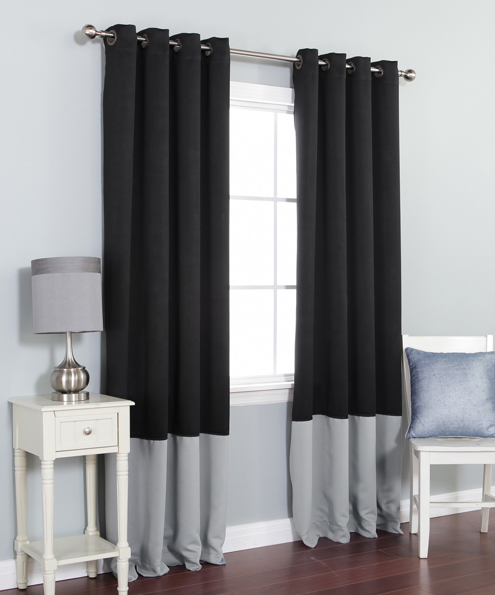 Best Home Fashion Black Gray Color Block Blackout Curtain Panel Set Of Two Zulily
