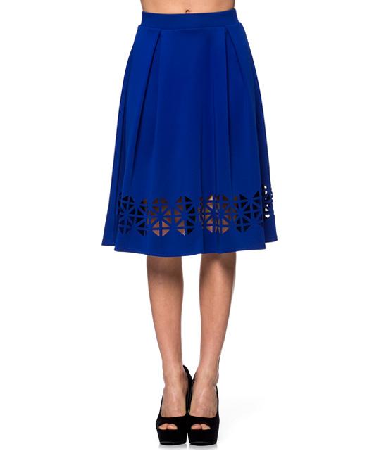 k royal blue cutout a line skirt zulily