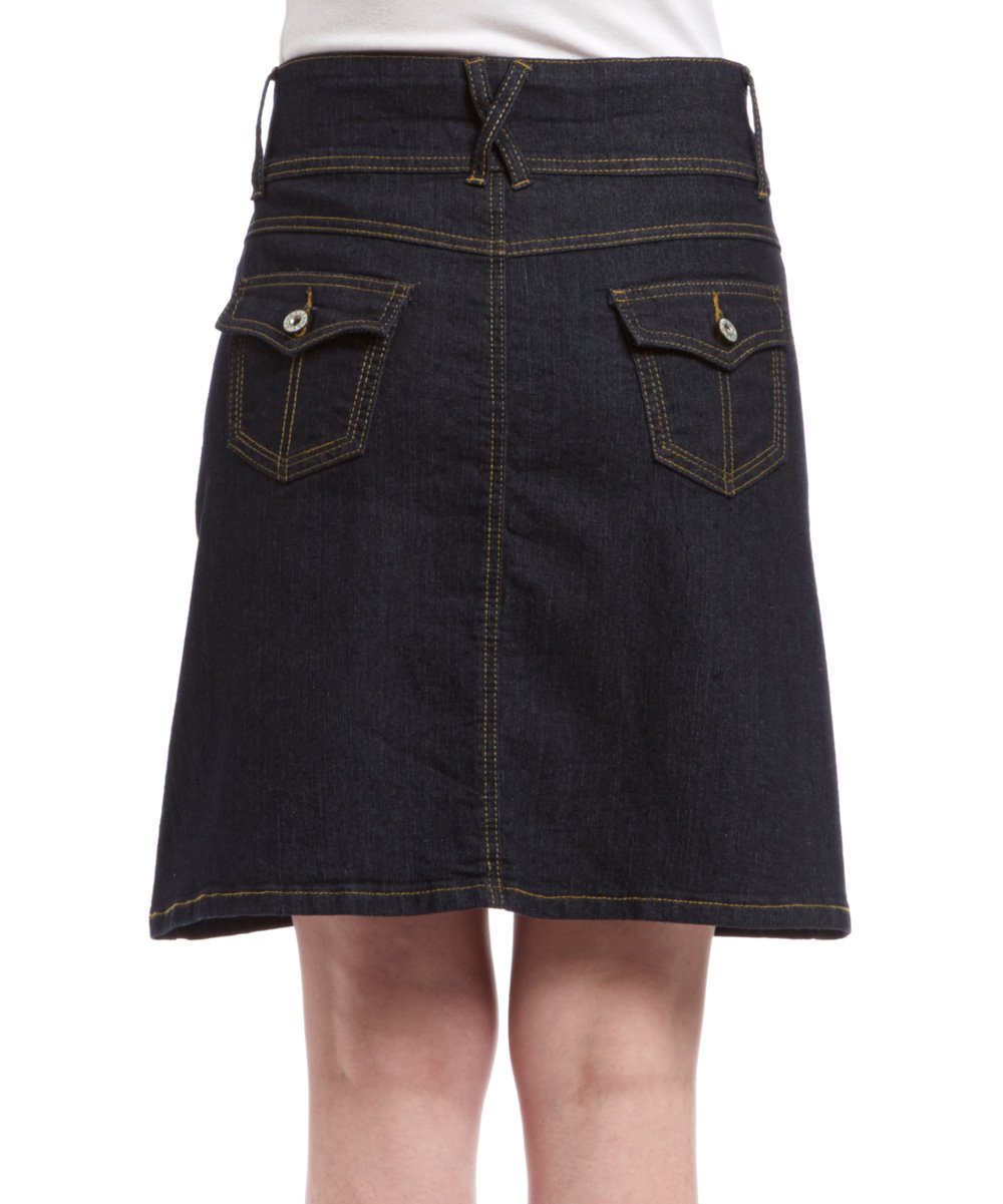 be clothing black denim a line skirt zulily
