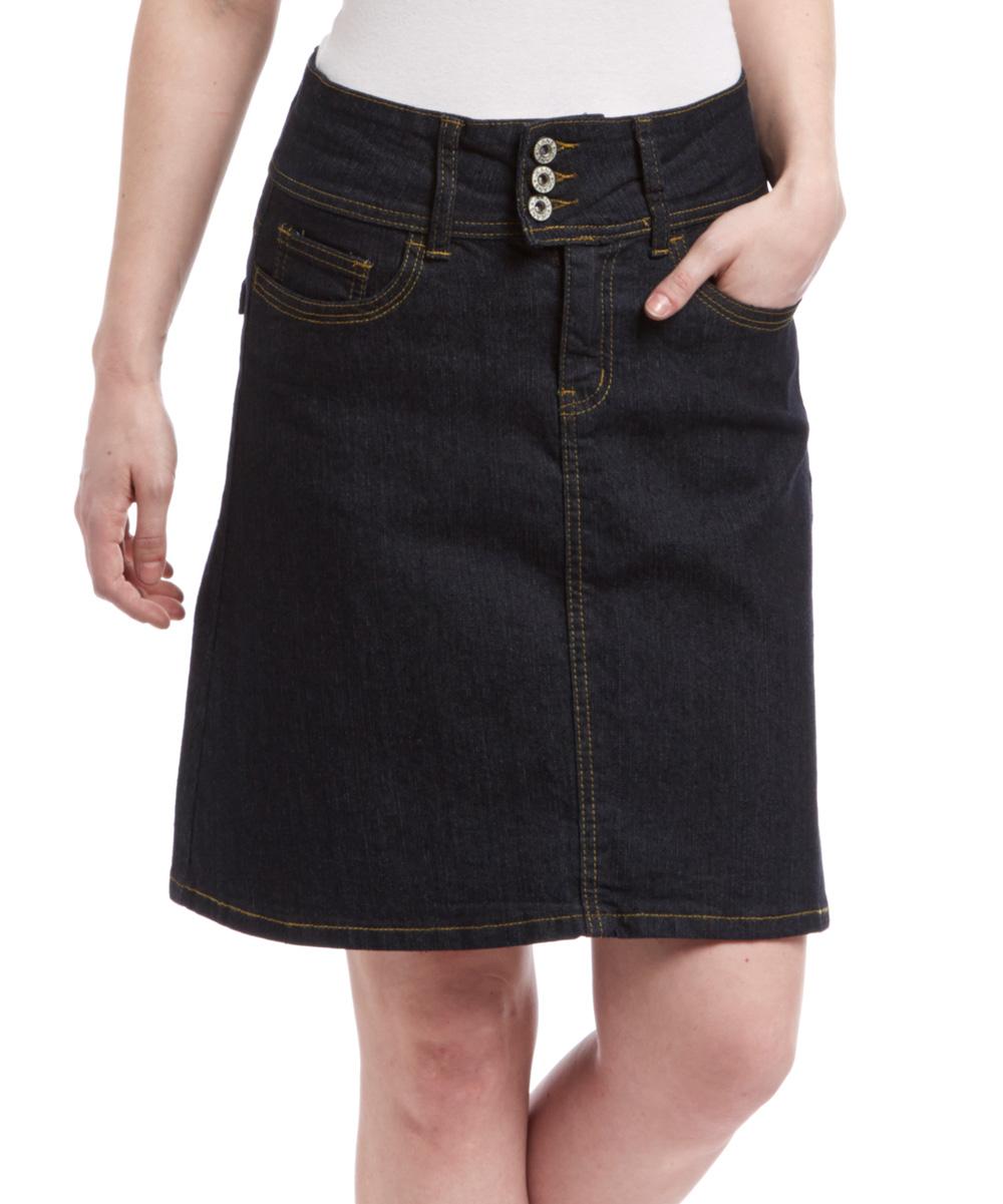 be black denim a line skirt zulily