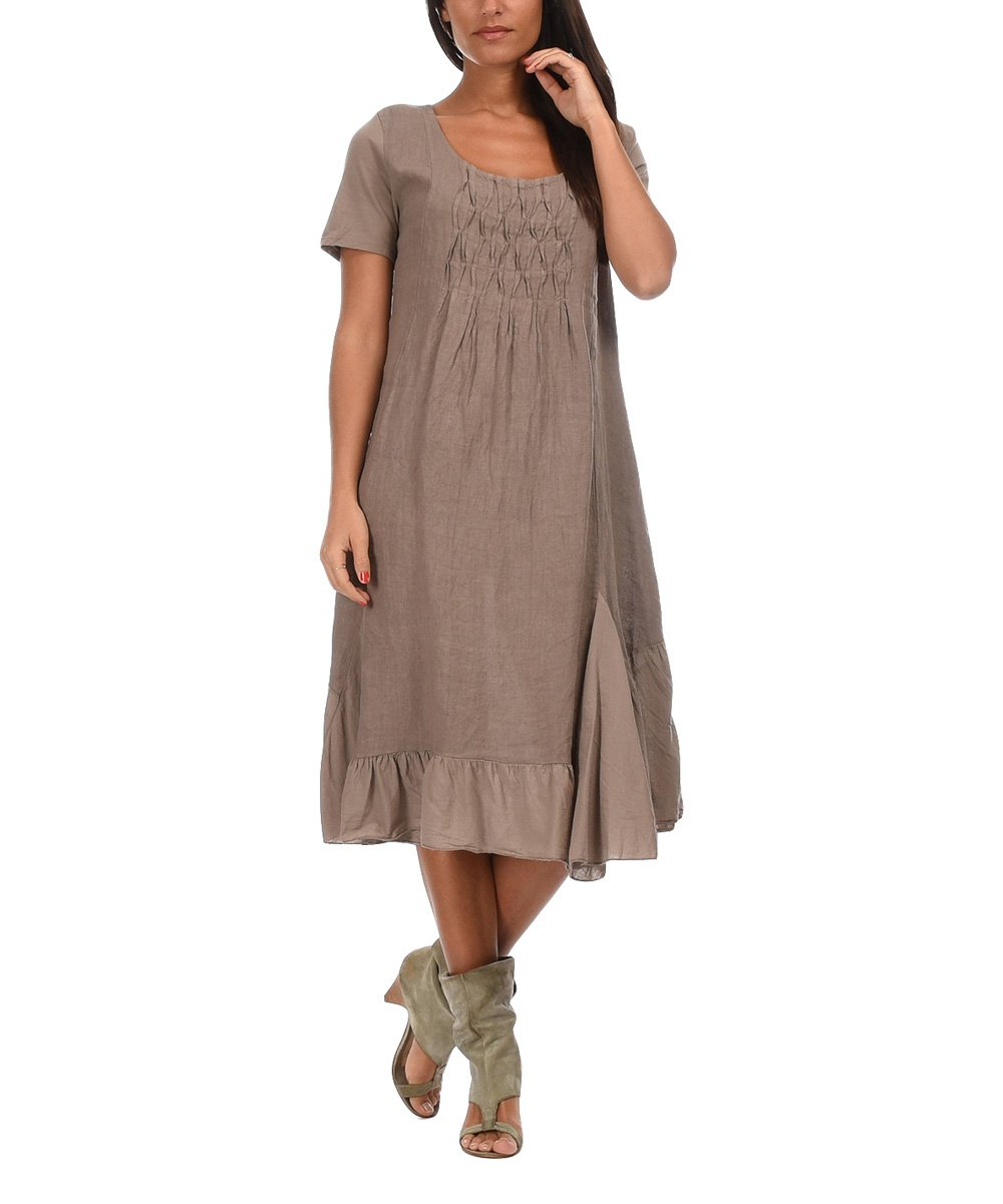 Taupe Cristina Linen Dress
