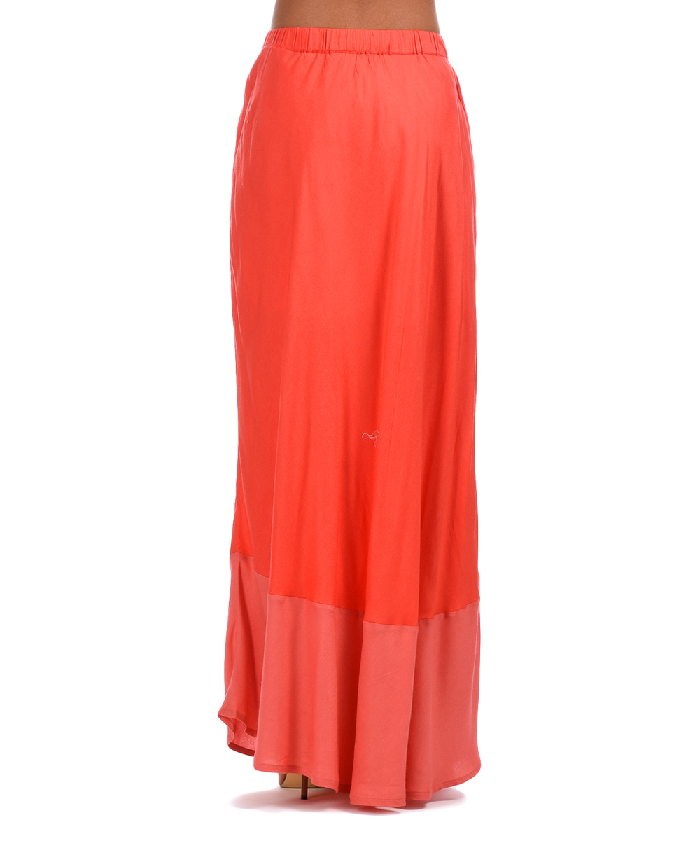 peace and coral pink color block maxi skirt zulily
