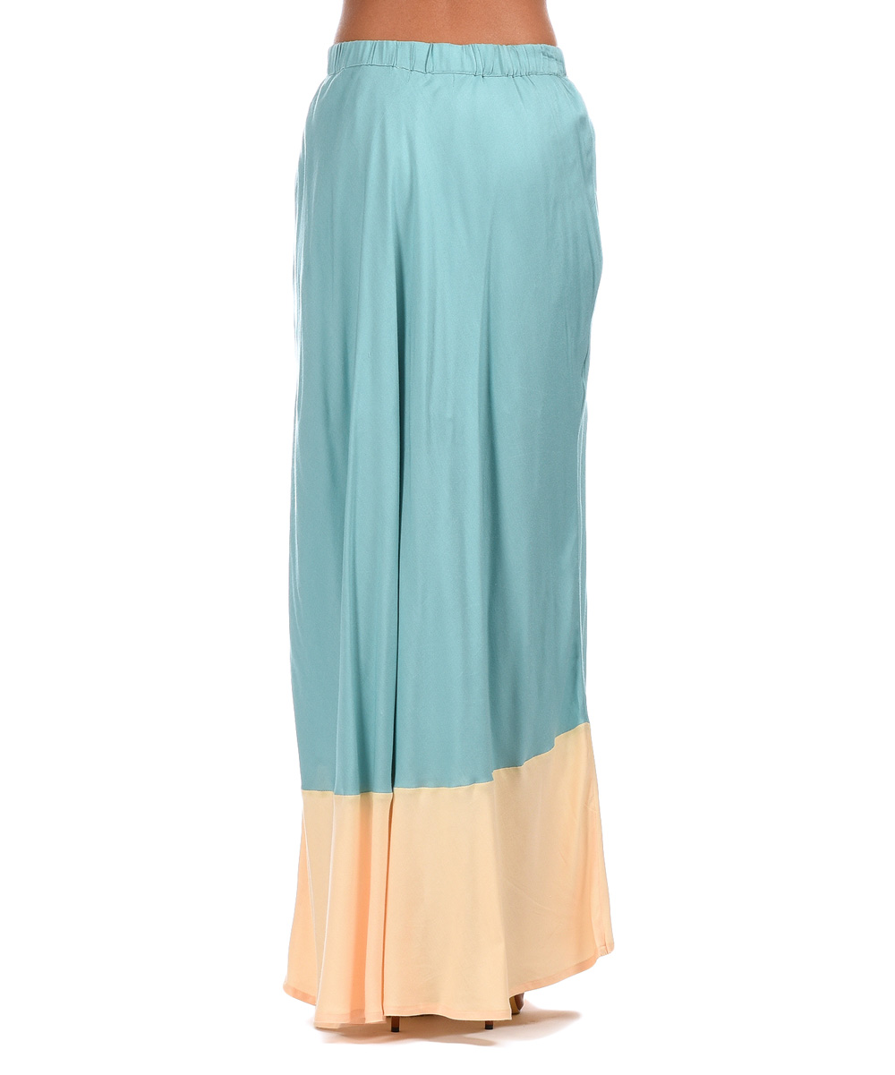 peace and coral teal color block maxi skirt zulily