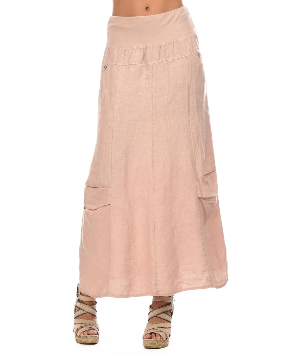 comptoir du light pink linen maxi skirt zulily