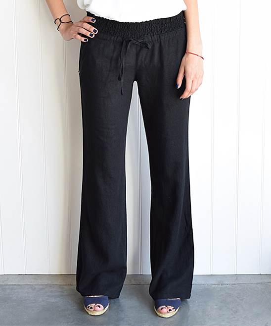 Awesome Women39s Commute Career Clothing  Lowwaist Loose Wide Leg Black Linen