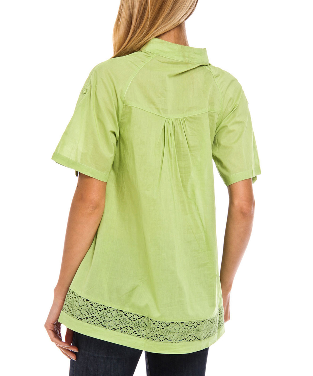Style ny green button up top zulily - Green button ...