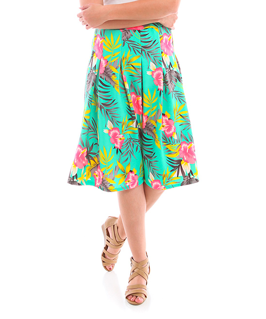 bold beautiful mint pink tropical pleated a line skirt