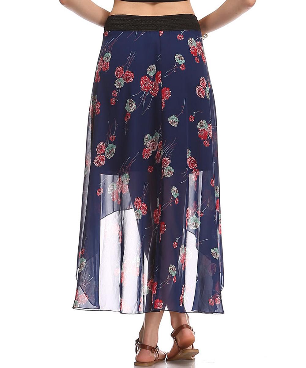 a la tzarina navy floral hi low skirt plus zulily