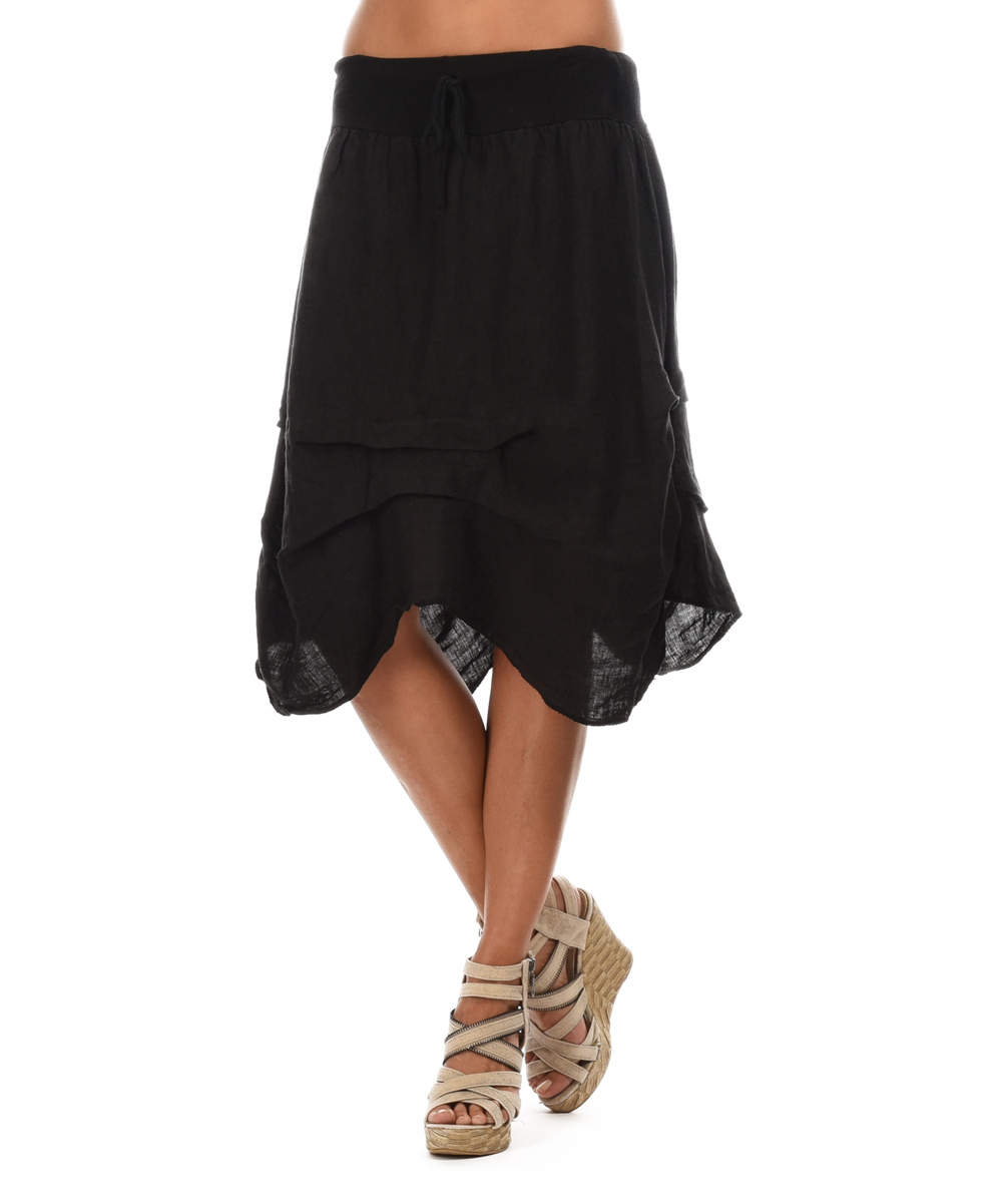 pour lautre black ruched sidetail midi skirt zulily