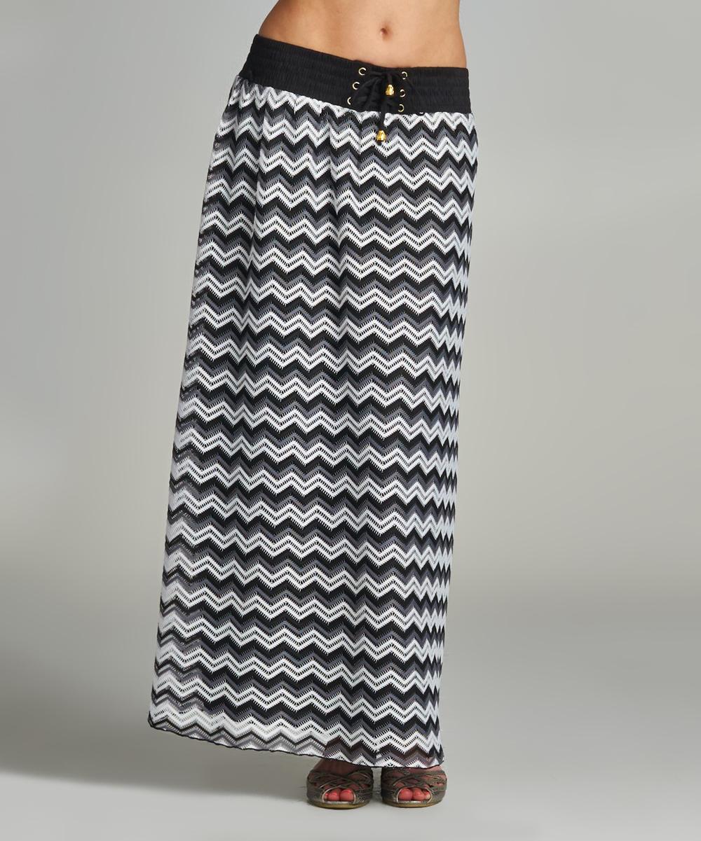 velzera black white chevron maxi skirt zulily