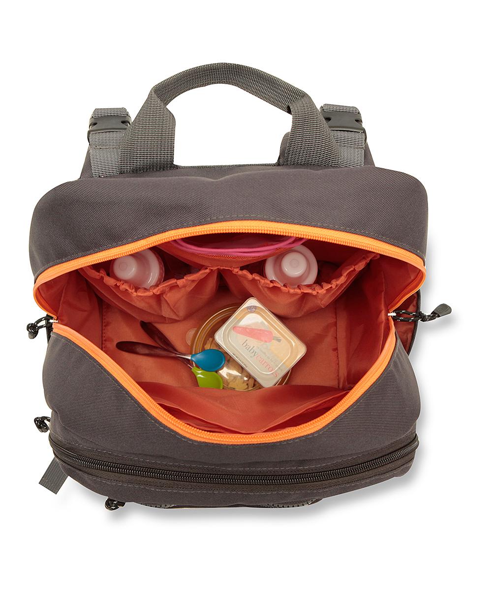 gray orange perfect pockets backpack diaper bag. Black Bedroom Furniture Sets. Home Design Ideas